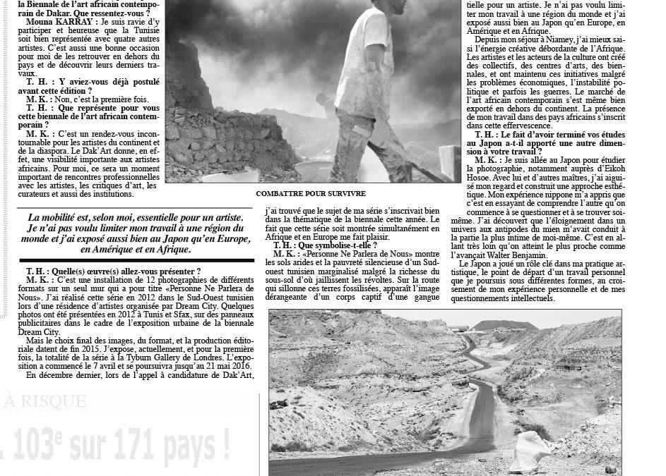 Zouhour Harbaoui – Interview Tunis Hebdo, Tout le monde pourrait parlait d'elle
