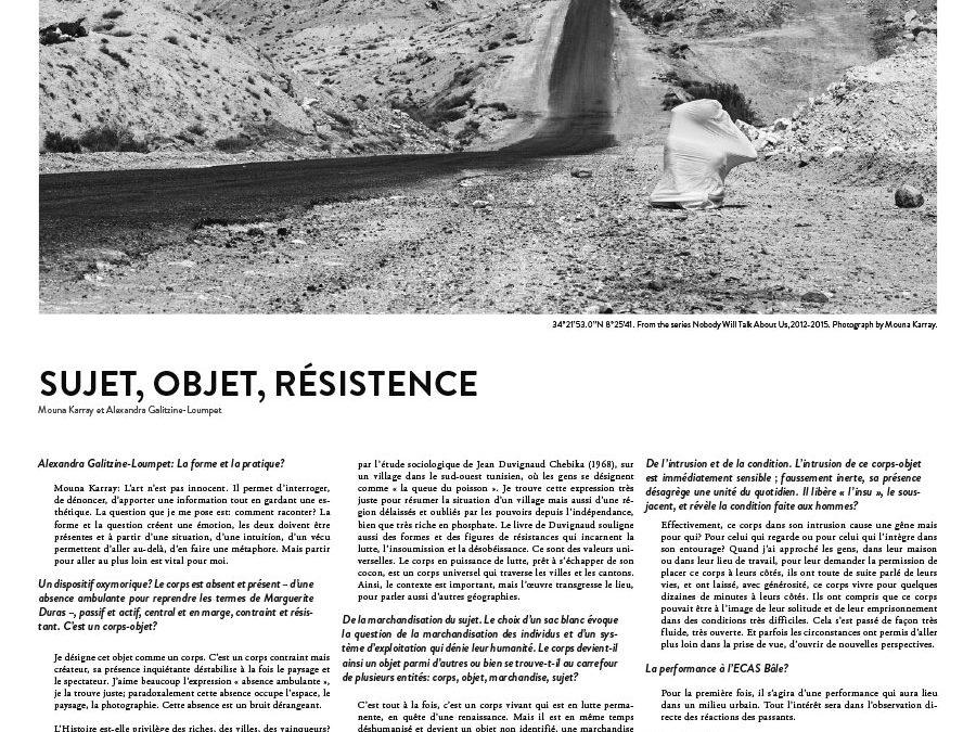Alexandra Galitzine-Loumpet – A Magazine, Sujet Objet Résistance