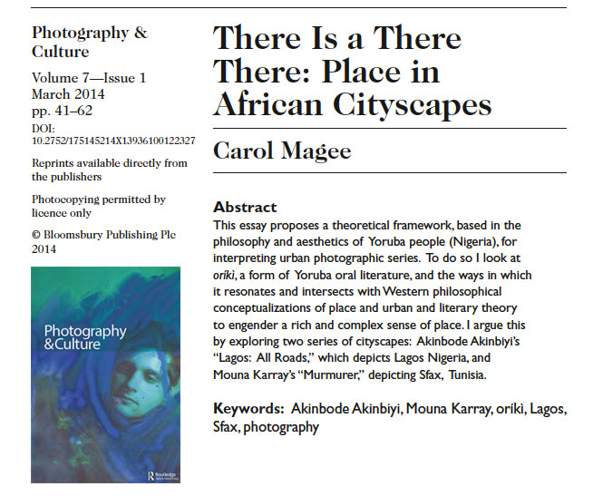 Carol Magee – There Is a There There: Place in African Cityscapes