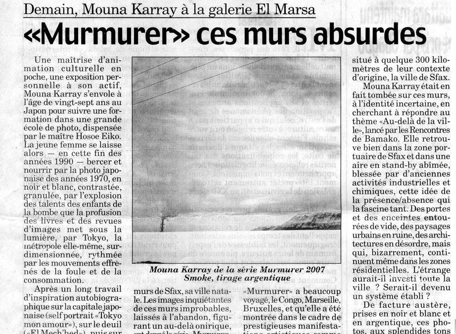 "Olfa Belhassine – ""Murmurer"" ces murs absurdes, La presse de Tunisie"